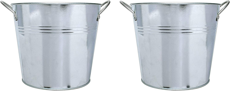 Galvanized Metal Bucket Planter with Handles, Set of 2