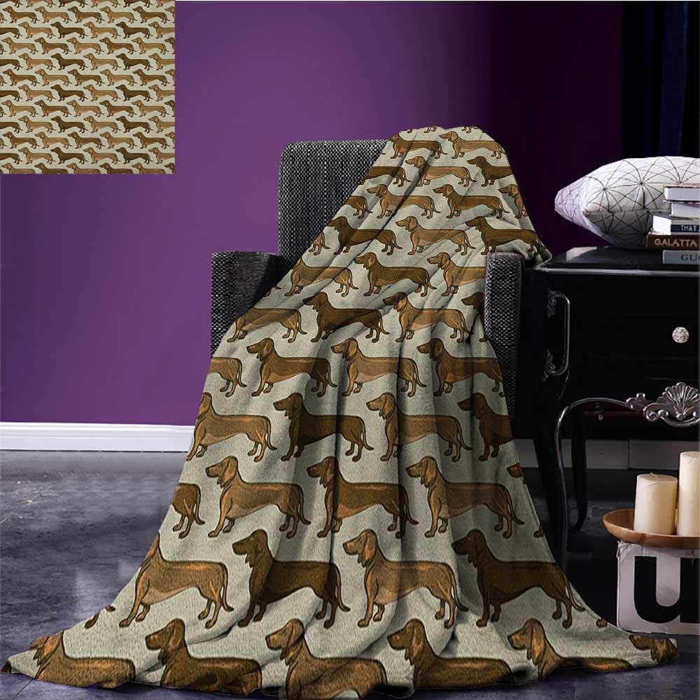 Dog Lover waterproof blanket Cute Little Canines Pattern Cartoon Style Pet Animal Adorable Puppies plush blanket Brown Caramel Beige size:60''x80'' by Anniutwo (Image #1)