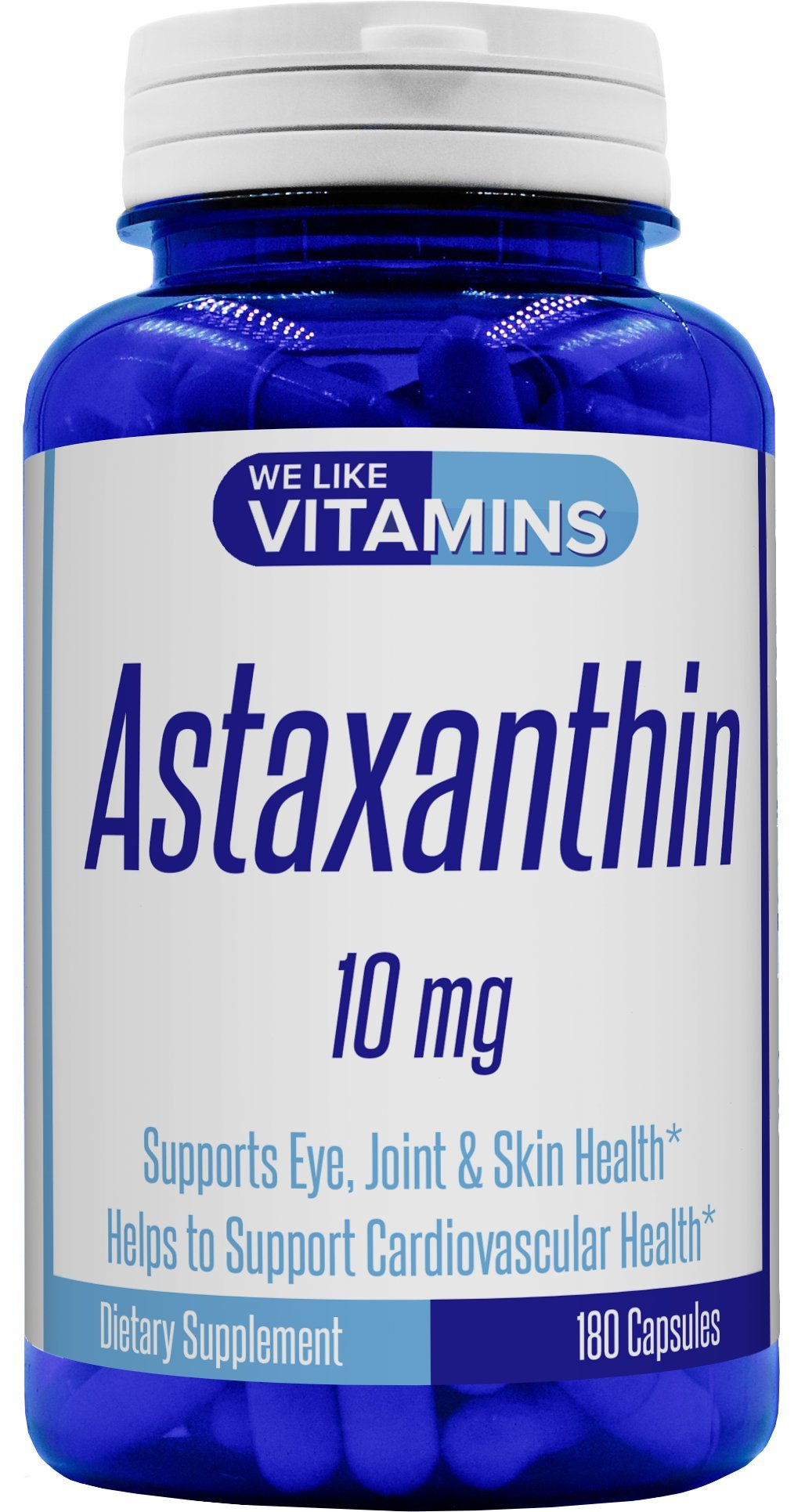 Astaxanthin 10mg - 180 Capsules - Best Value Max Strength Astaxanthin Supplement 6 Month Supply