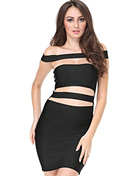 Adyce vendaje vestido negro Elegante vestido de fiesta vestido de noche vestido Sexy halter del hombro