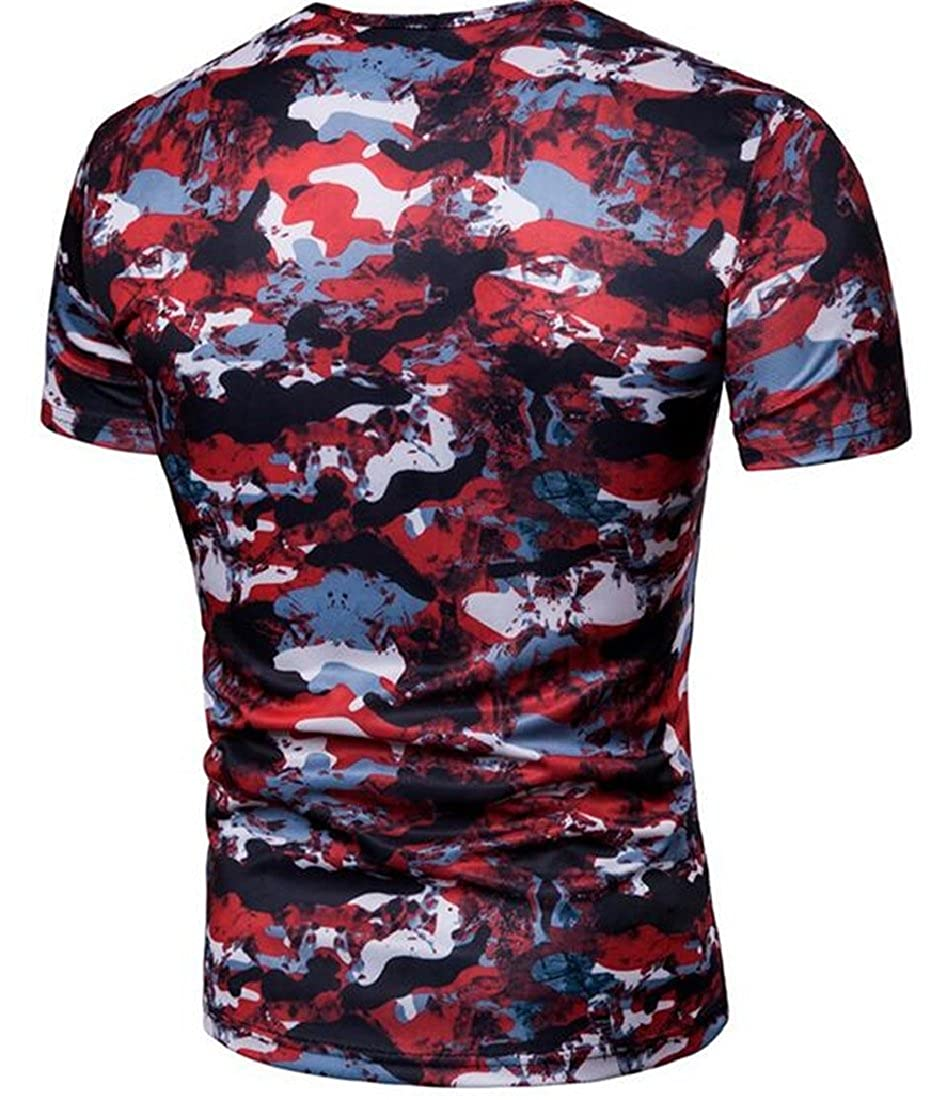 Beloved Mens Summer Short Sleeve Rounded Collar Fashional Cotton Camouflage Print Stretchy T-Shirt Red XS