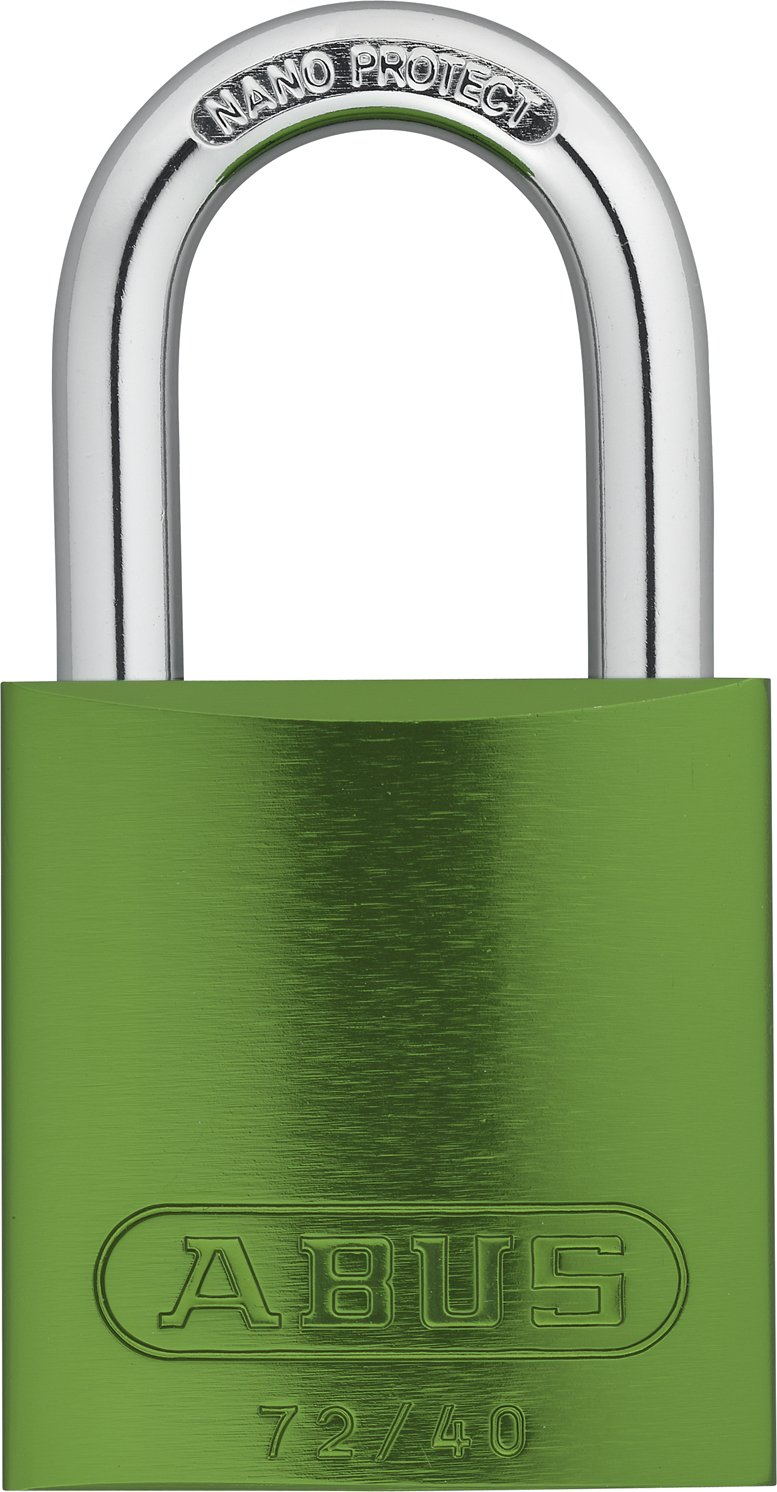 ABUS 72/40 KD Safety Lockout Aluminum Keyed Different Padlock with 1-Inch shackle, Green
