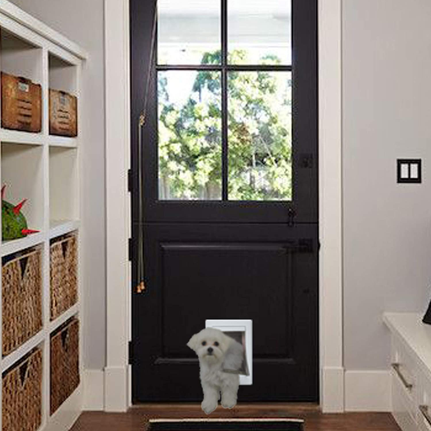 "Ideal Pet Products Designer Series Plastic Pet Door with Telescoping Frame, Small, 5"" x 7"" Flap Size : Pet Supplies"