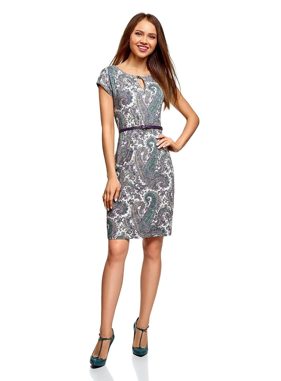 oodji Collection Damen Jersey-Kleid mit Gürtel