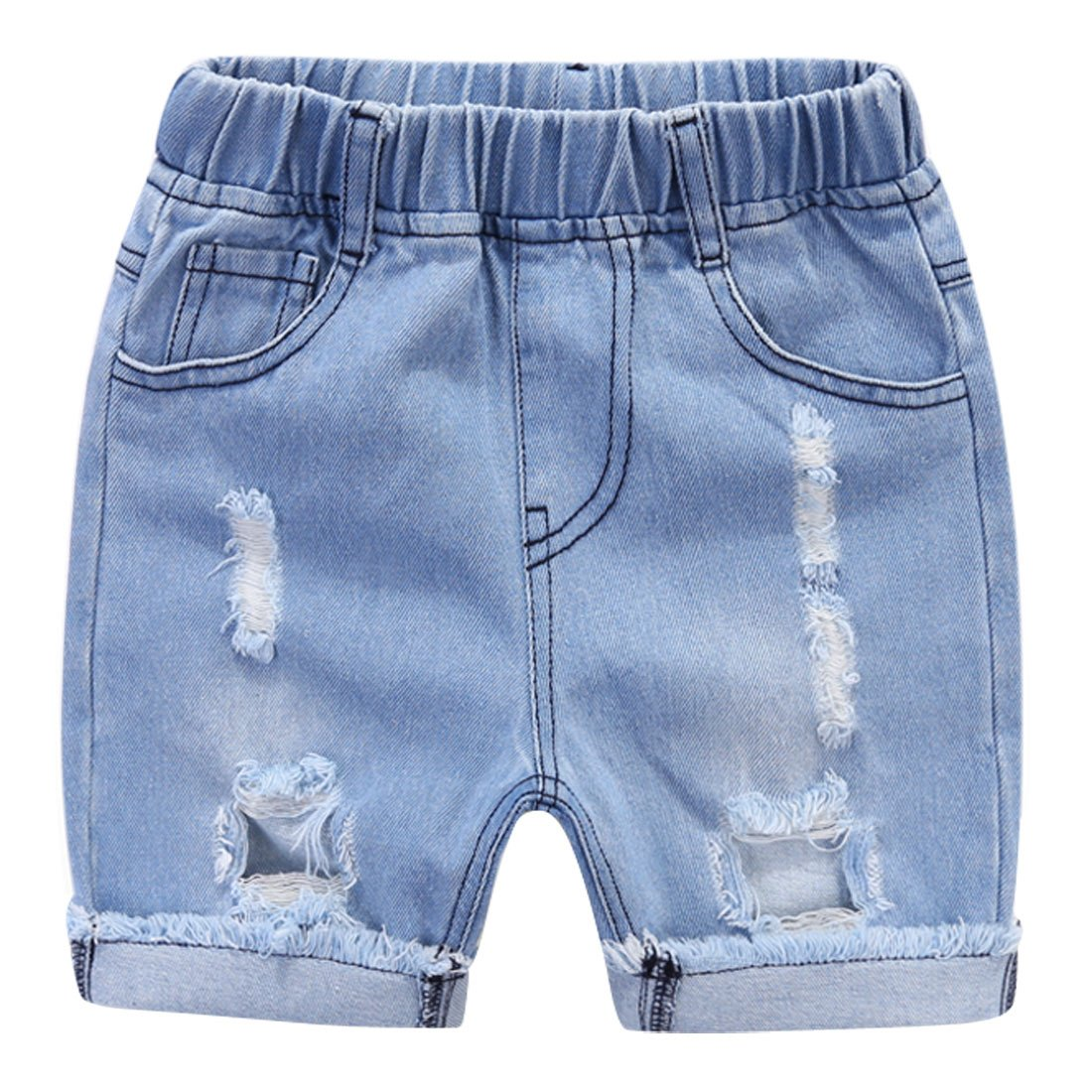 Boy Jeans Short Pants Blue Jeans Denim Short Pants Elastic Belt Short Trousers Jeans for Little Girls Boys Light Blue