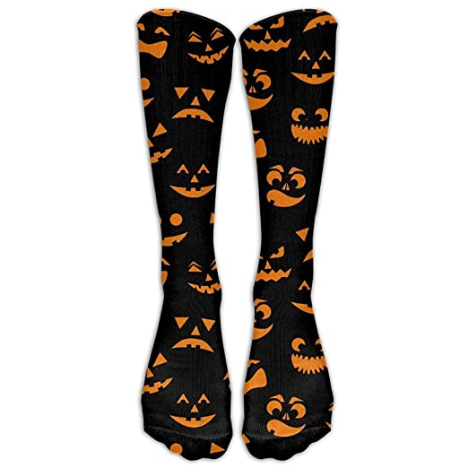 a24261fe673 Image Unavailable. Image not available for. Color  Men s Women s Novelty  Orange Halloween Pumpkins Carved Faces Long Sock Athletic Calf High Crew ...
