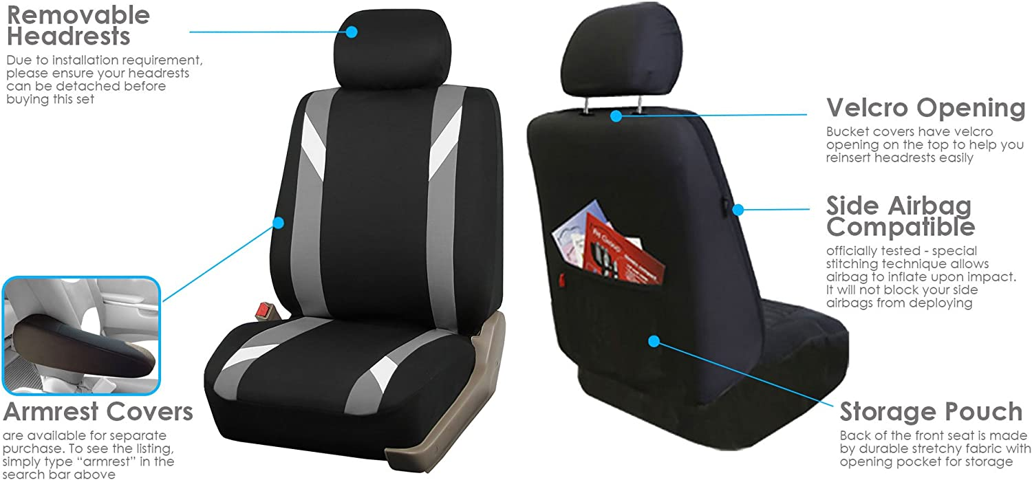 FH Group FB033102 Premium Modernistic Seat Covers Gray//Black with Gift Truck Fit Most Car or Van SUV