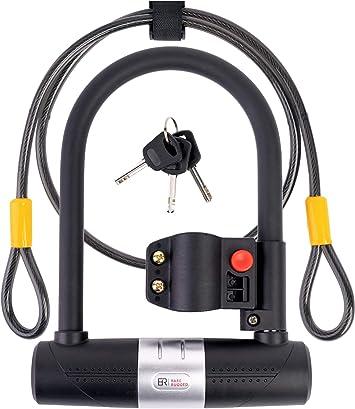 WEXHUG Bike U Lock 16mm Heavy Duty Security U Cable Bike Lock with 4ft Flex Bike Cable and Sturdy Mounting Bracket for Road Bike Mountain Bike Electric Bike Folding Bike