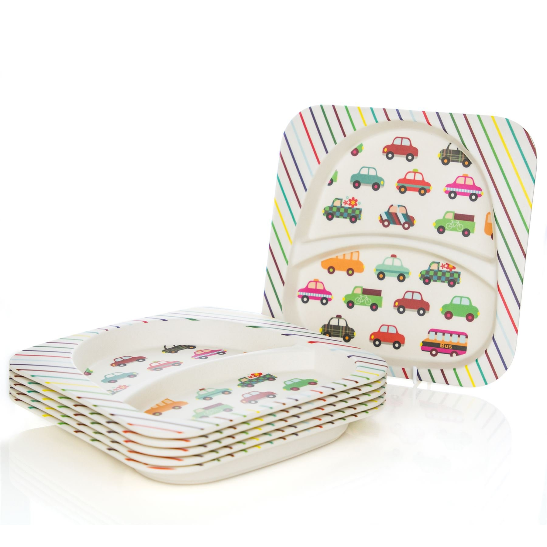 Tiny Dining Children's Bamboo Fibre Dining Plate - Cars - Pack of 6 by Tiny Dining