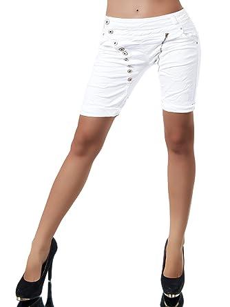 N870 Damen Bermuda Jeans Hose Shorts Damenjeans Hüftjeans Caprijeans  Boyfriend, Farben Weiß, Größen 0f74397c9f