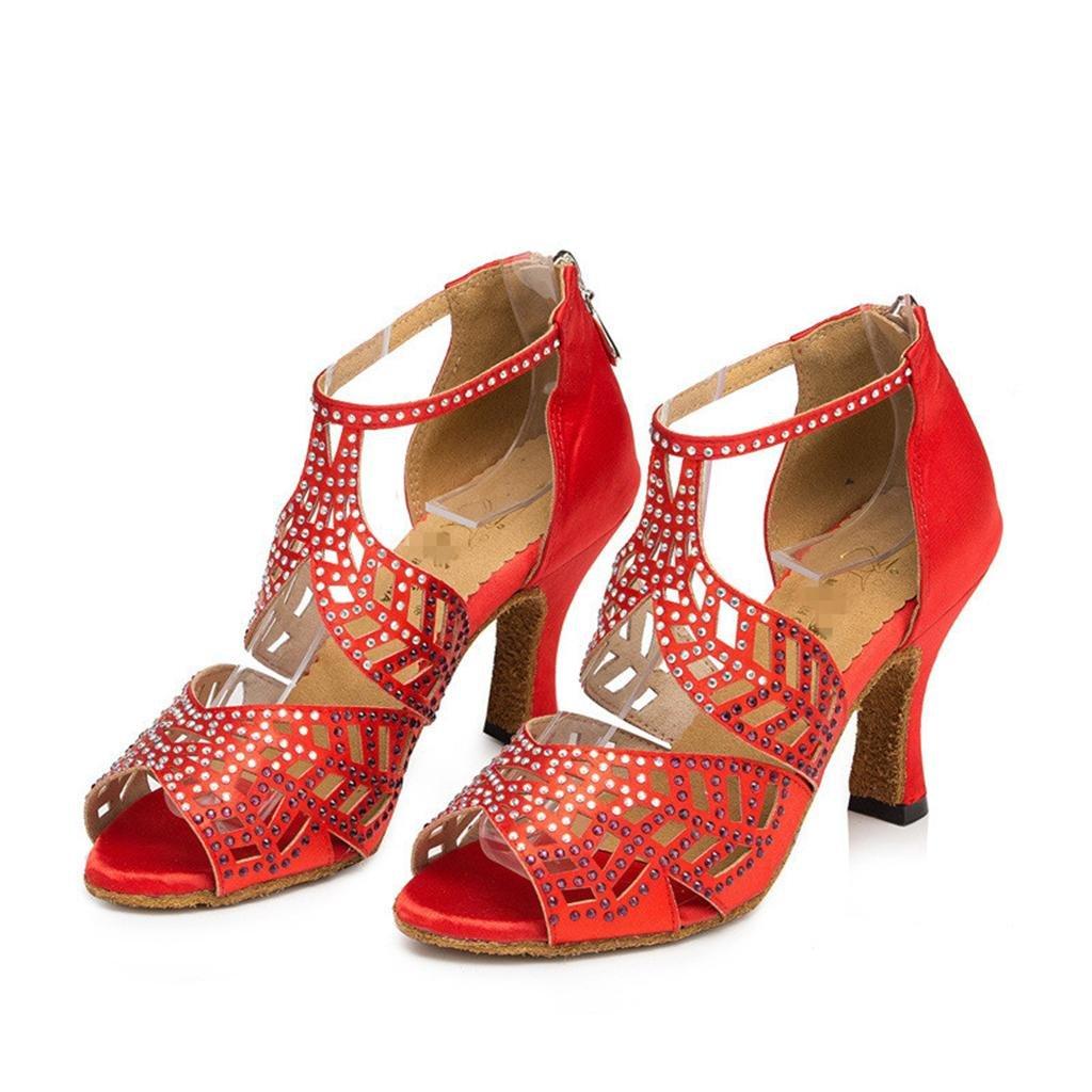 Tanzschuhe Damen Salsa Tango Latin Latin Latin High Heel Ballroom Soft Bottom Leder Diamant Wildleder Strap Knöchel Klassische Sandalen Rot  db3192