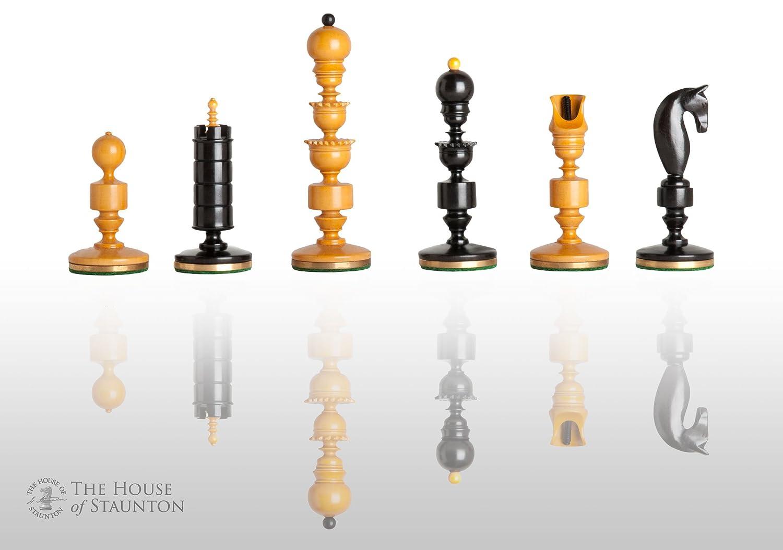 The House of Staunton – The Biedermeier ラグジュアリーチェスセット – ピースのみ – 4.4インチキング – 本物の黒檀とアンティークのボックスウッド B01MDQV4H8