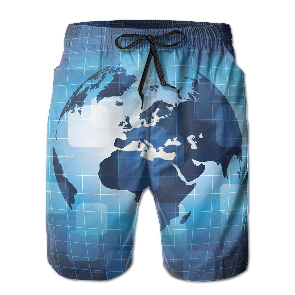 Mens Beach Shorts Quick Dry Blue Earth Summer Holiday Mesh Lining Swimwear Board Shorts with Pockets