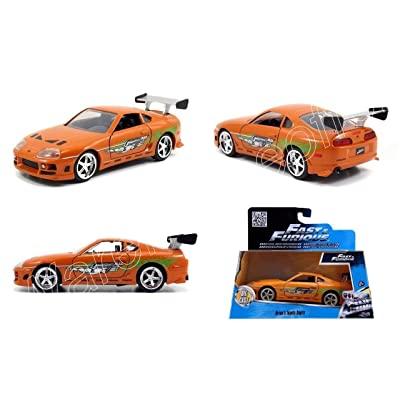 New 1:32 Fast & Furious 7 Brian's Orange Toyota Supra Diecast Model Car By Jada Toys: Toys & Games