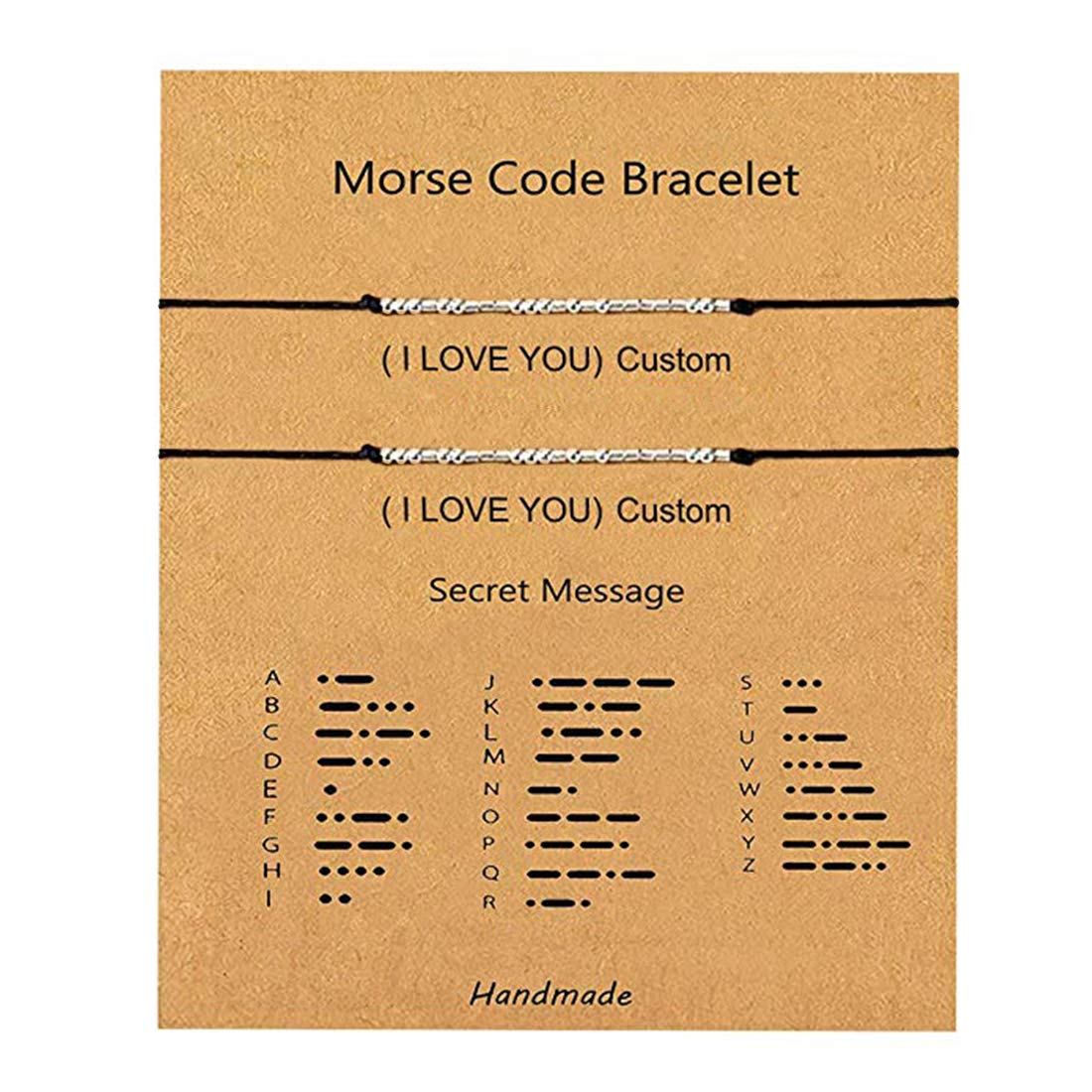 Custom Morse Code Bracelet Sterling Silver Beads on Silk Cord Personalized Bracelets Gift Jewelry for Couples Best Friend Family