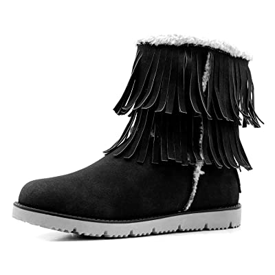 DailyShoes Women's Comfort 2-Layer Round Toe Flat Fringe Eskimo Moccasin Winter Snow Ankle High Boots | Ankle & Bootie