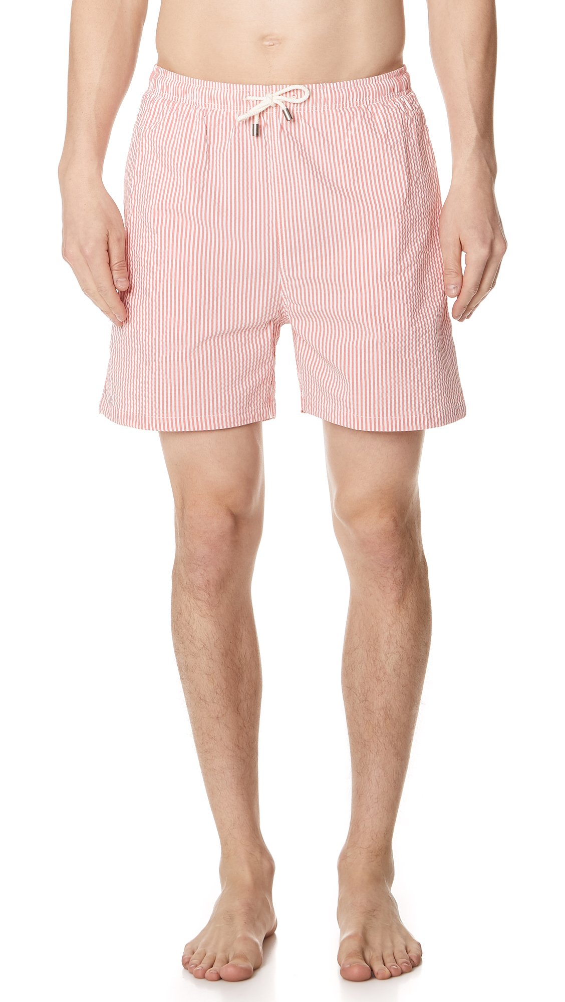 Solid & Striped Men's The Classic Seersucker Trunks, Orange, Small