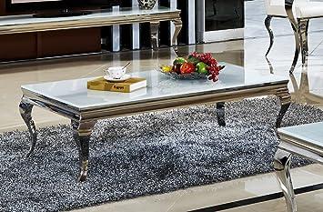 Couchtisch Wohnzimmertisch Luxus Aura 130 X 70 42 Cm Weiss Barock Stil Tisch Rokoko Wohnzimmer
