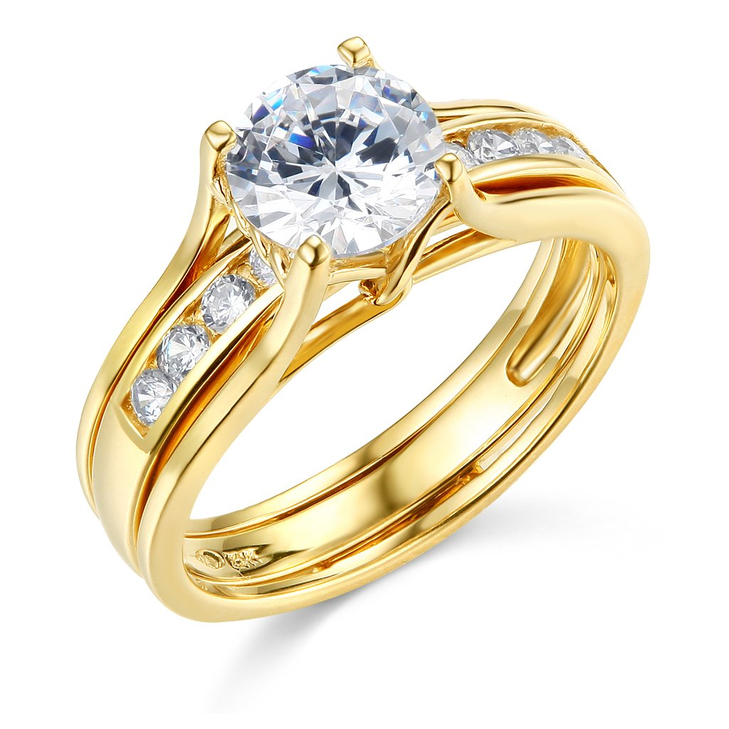 TWJC 14k Yellow Gold SOLID Engagement Ring & Wedding Band Set - Size 8
