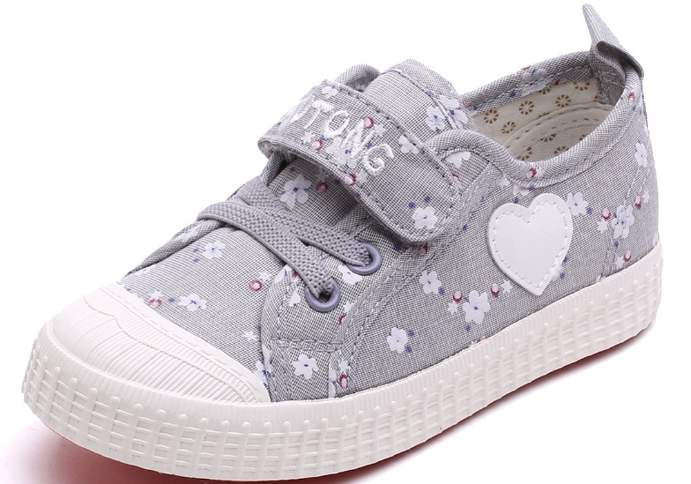 VECJUNIA Girls Sweet Floral Heart Painted Round Toe Canvas Shoes Gray 11.5 M US Little Kid by VECJUNIA (Image #1)