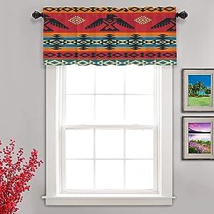 Shrahala Ethnic Geometric Tribal Kitchen Valances Half Window Curtain, Native American Navajo Tribal Design Print Kitchen Valance for Window Ink Printing Kitchen Valances for Kitchen Decor 52x18 inch