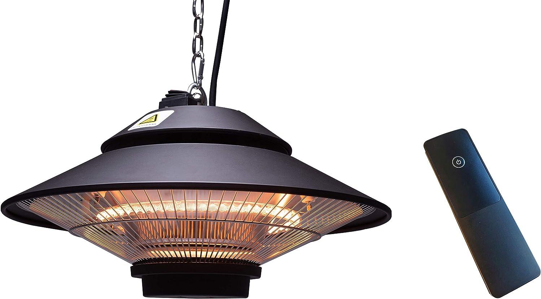 ICQN Calefactor de techo | 1500 W con mando a distancia | estufa de terraza | IP34 con funda protectora | estufa de infrarrojos | estufa de calor | calefactor de balcón