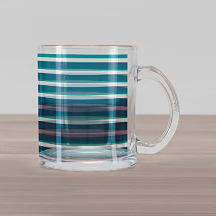 b42f038c745 Ambesonne Striped Glass Mug, Turquoise Dark Teal Stripes Thick and Thin  Lines with Aqua Colors