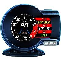 ACECAR F8 Universal Car HUD Dual System Head Up Display Digital OBD/GPS Speedometer OBDII EUOBD with Test Brake Test…
