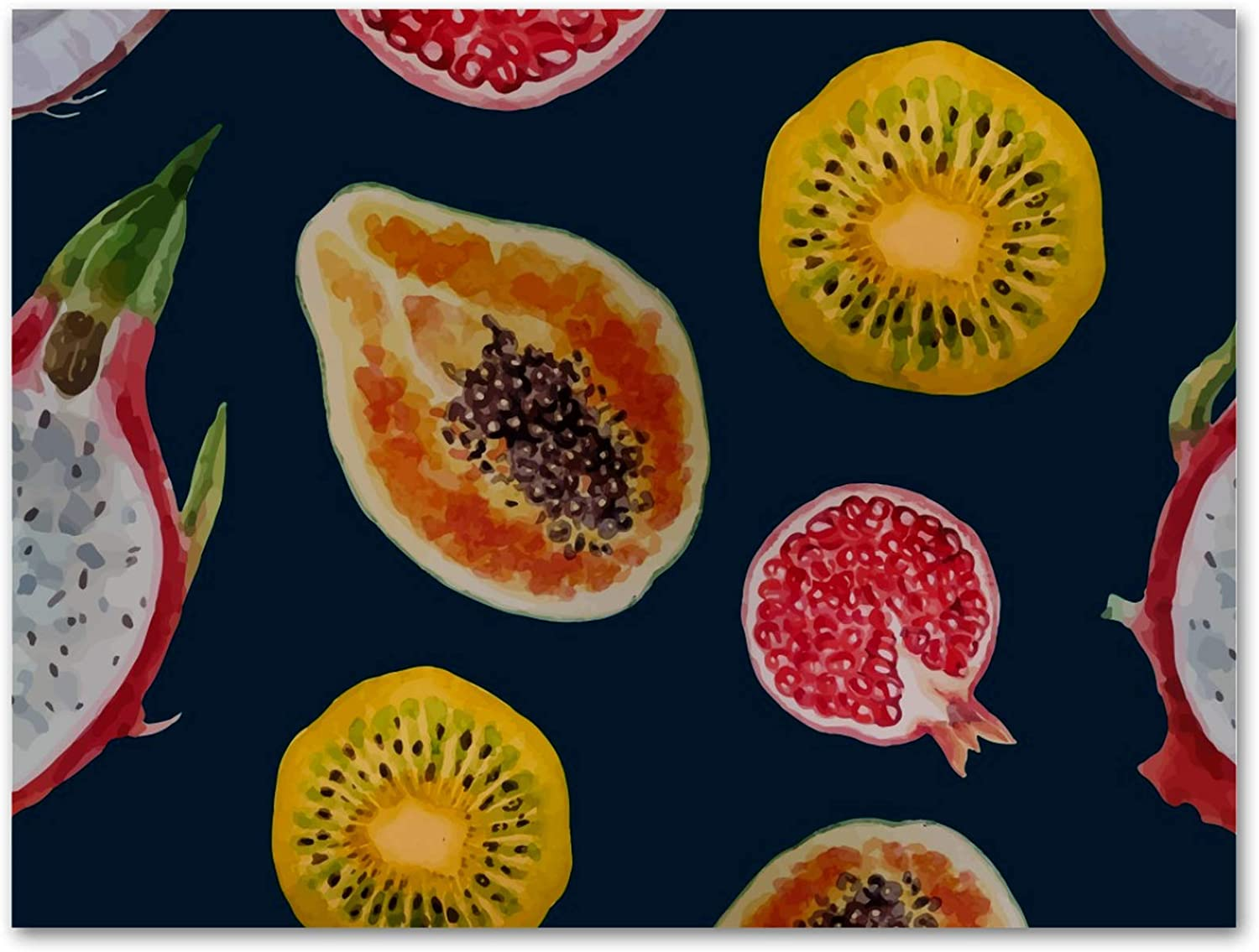 imobaby Oil Painting on Canvas Tropical Dragon Fruits Papaya Kiwi Coconut Prints with Wooden Frame for Bedroom Home Living Room Office Modern Wall Art Decor, 11.8x19.6 in