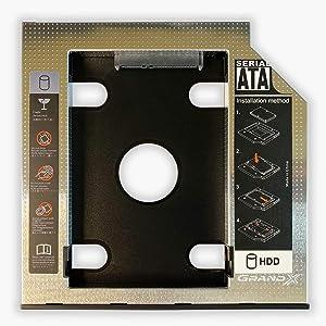 SATA 2nd SSD HDD Hard Drive Caddy Adapter Tray Enclosures for Laptop Optical Drive Bay for Acer, Asus, Dell, Fujitsu, HP, Lenovo, Samsung, Sony, Toshiba (9.5 mm)