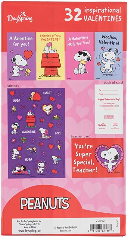 Bonus Stickers Inspirational Boxed Cards Valentines Day Peanuts