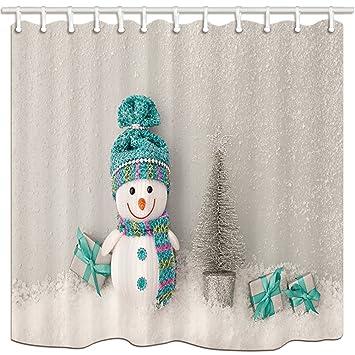 KOTOM cortinas de ducha de tela de Navidad, muñeco de nieve con bufanda vibrante sombrero con ...