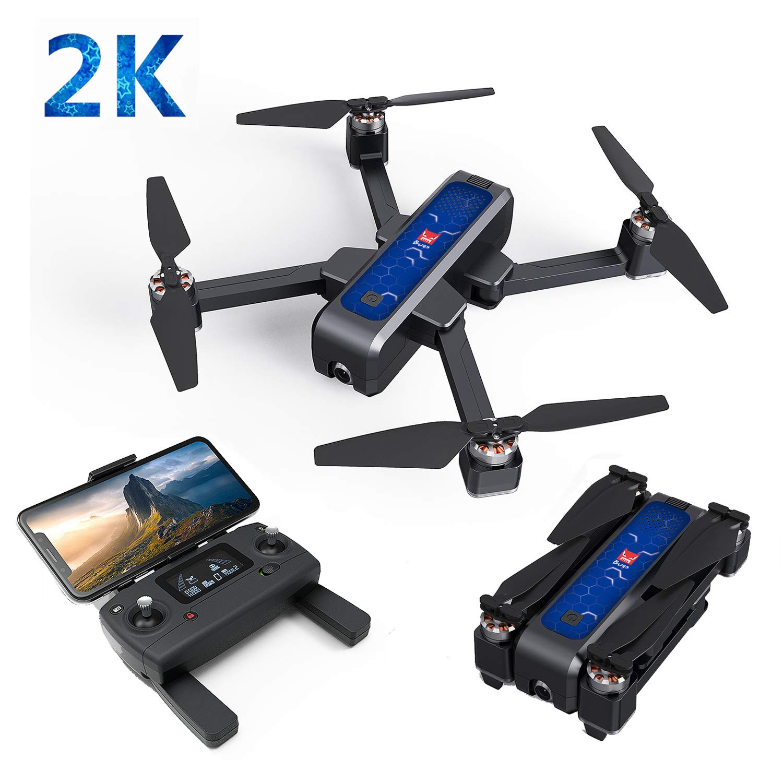 2 Battery DishyKooker B4W GPS Wifi With 2K Camera 25mins Flight Time Selfie RC Drone Quadcopter Black bluee 2 battery