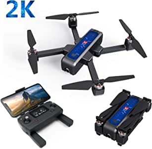 RONSHIN Drones Toys MJX B4W GPS 5G Wifi FPV With 2K Camera 25mins Flight Time Brushless Selfie RC Drone Quadcopter Black blue 3 battery