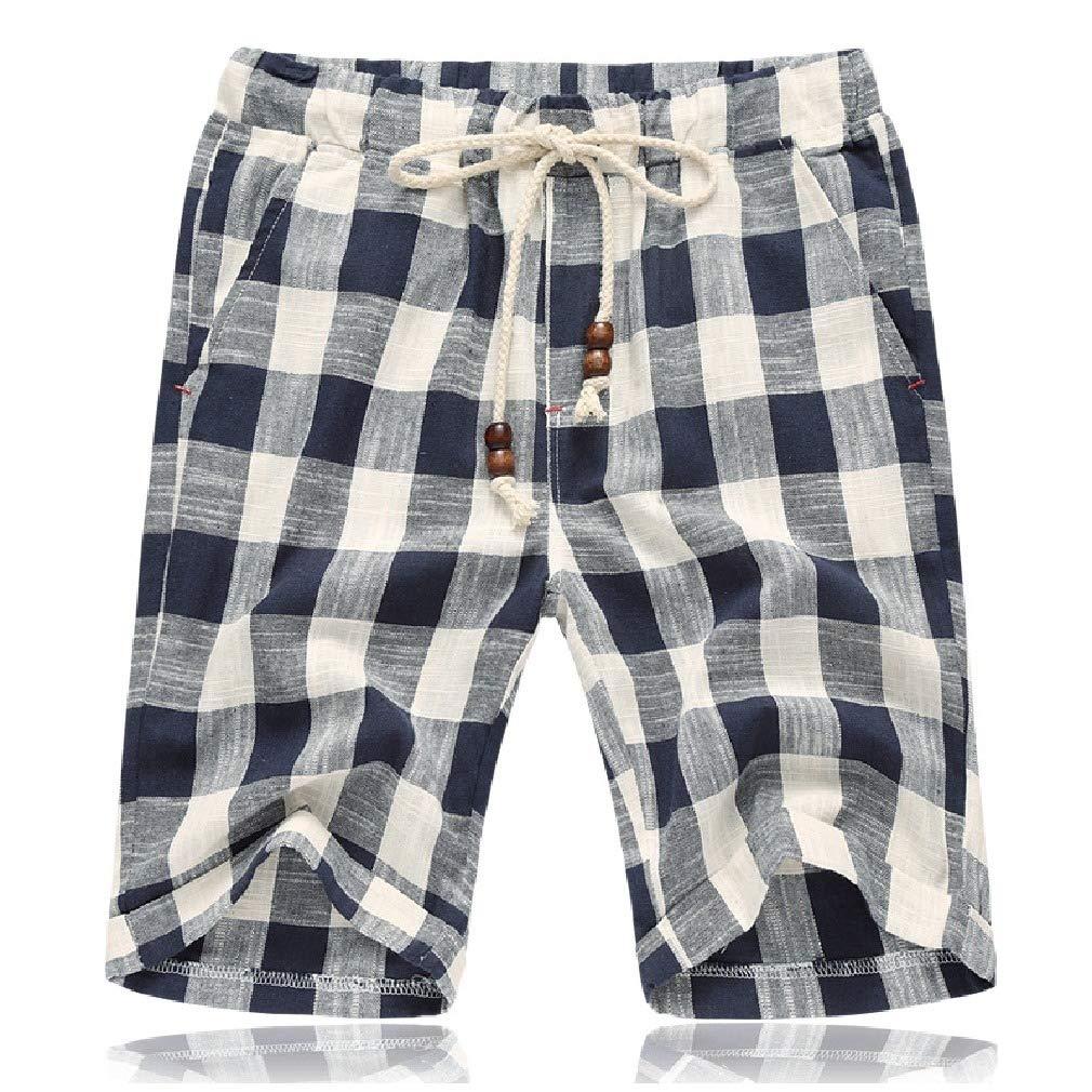 Coolred-Men Cotton Plus Size Elastic Waist Drawstring Plaid Pockets Short Pants