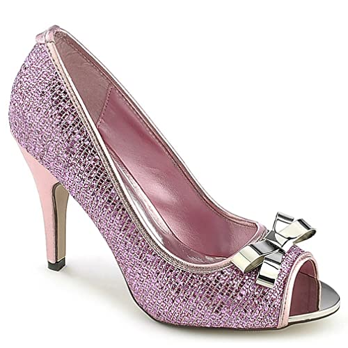 d08d6925982 Amazon.com | Delicious Fuchsia Pink Shimmering Glitter Peep Toe Pump ...