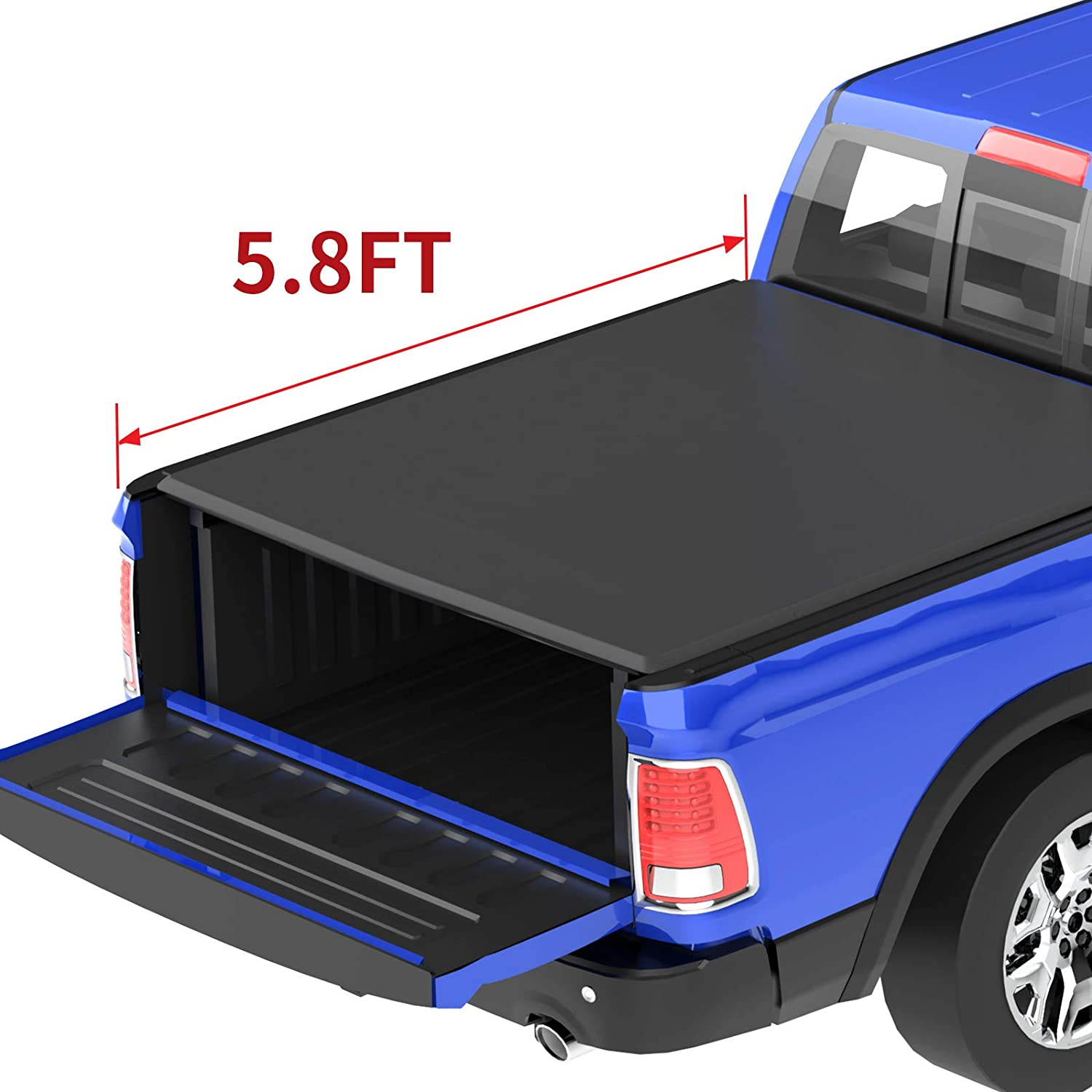 Amazon Com Oedro Roll Up Truck Bed Tonneau Cover Compatible With 2009 2020 Dodge Ram 1500 With 5 8 Feet Bed Fleetside Automotive
