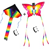 Large Rainbow Delta and Butterfly Kites - SINGARE 2 Pack Easy Flyer Kites with Long Colorful Tail for Kids Adults…