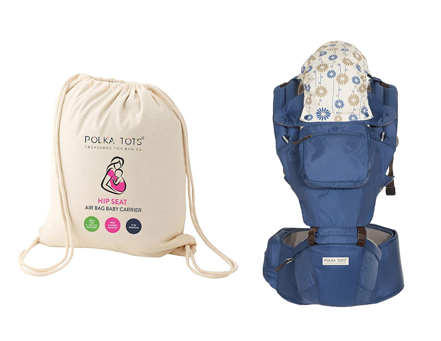 Polka Tots Ergonomic Baby Hip Seat / 6 In 1 Baby Carrier