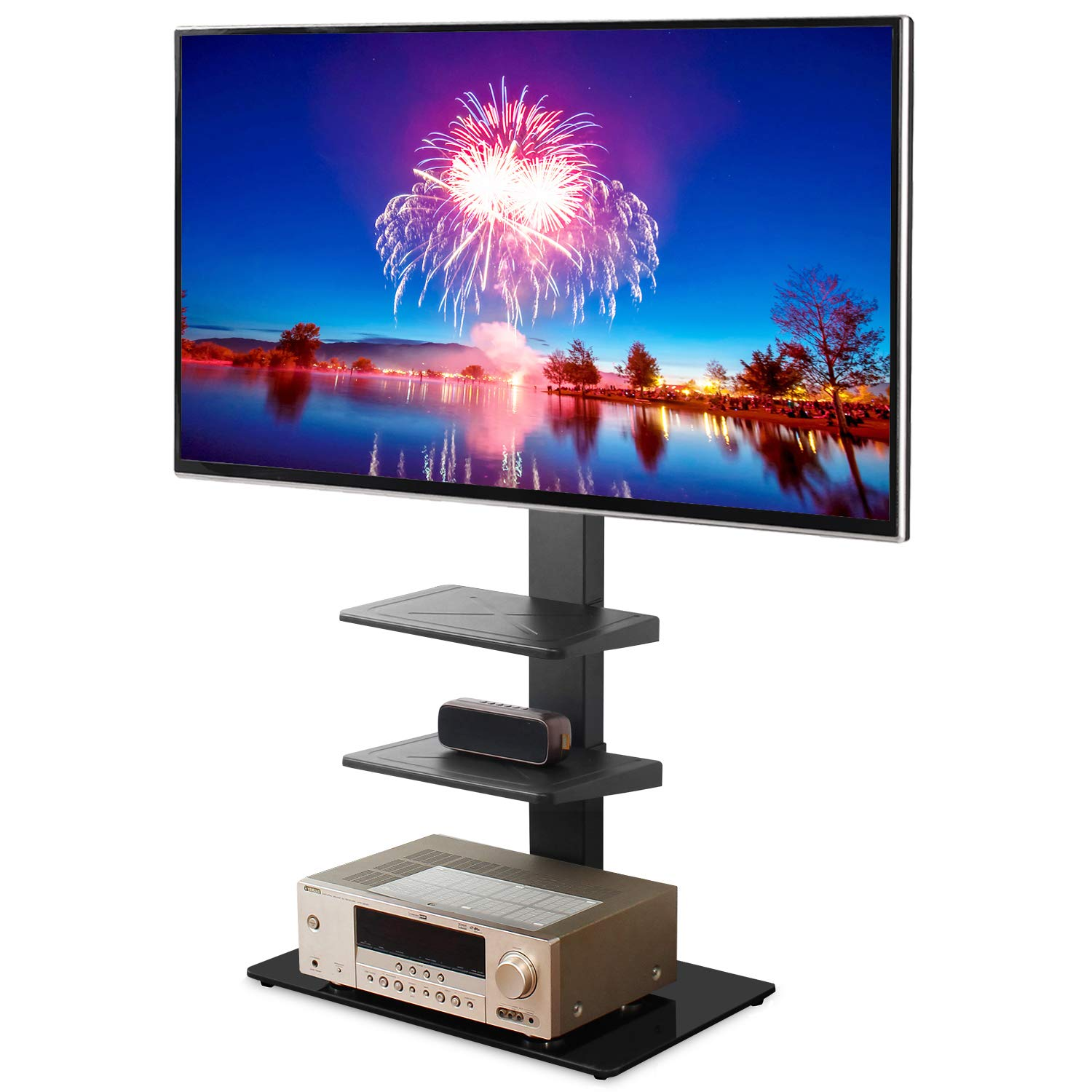 Rfiver Universal Floor TV Stand with Swivel Mount and Adjustable Media Shelves for 32 37 43 47 50 55 60 65 inch Flat/Curved Screen TVs, Internal Wire Management and Tempered Glass Base, Black TF2002 by Rfiver