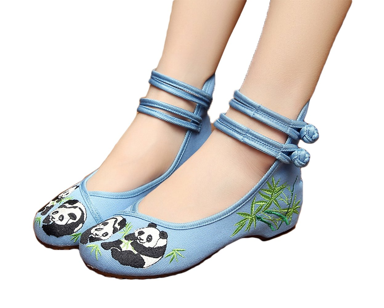 AvaCostume Chinese Style Panda Bamboo Embroidery Prom Dress Shoes, Blue, 37