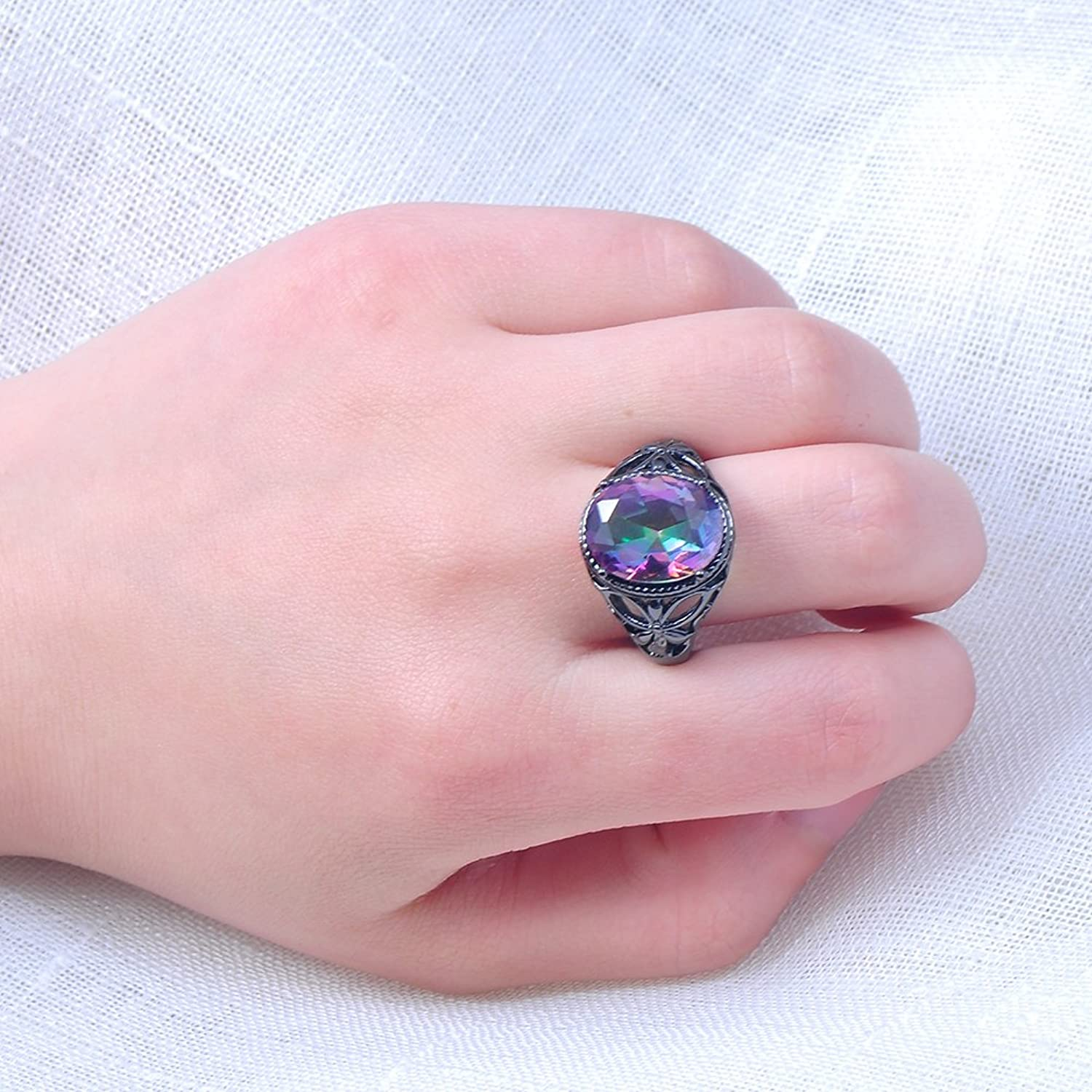 Bamos Jewelry Womens Rainbow Lab Stone Promise Ring Engagement ...