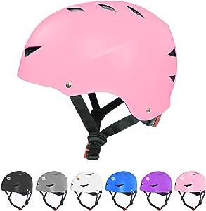 Dostar Skateboard Helmet for Kids Youth & Adults with CPSC Certified Bike Helmet for Multi-Sports Cycling Roller Skate BMX Scooter Helmet, 3 Adjustable Sizes Helmet for Toddler Men Women
