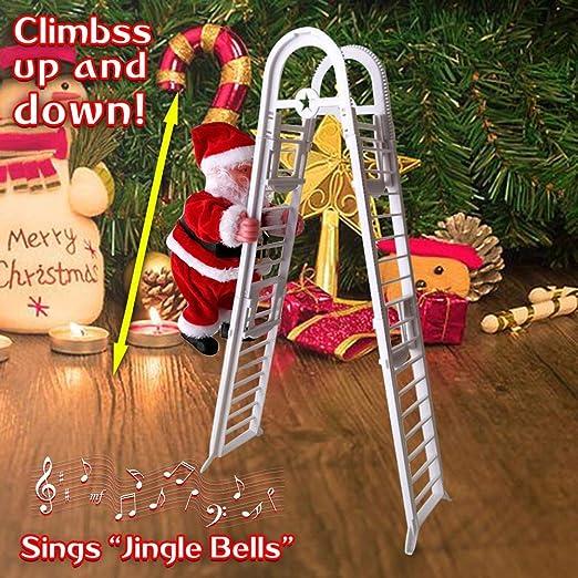 Escalera eléctrica de Papá Noel, Música navideña para cantar, Juguete de peluche creativo para subir y bajar para la fiesta de Navidad Puerta de casa Decoración de la pared Regalo de Navidad:
