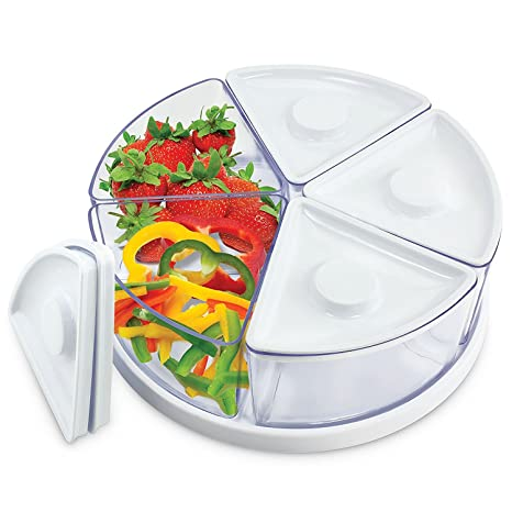 KOVOT Lazy Susan Food Storage Containers With Lids On A Rotating Turntable,  24 Oz,