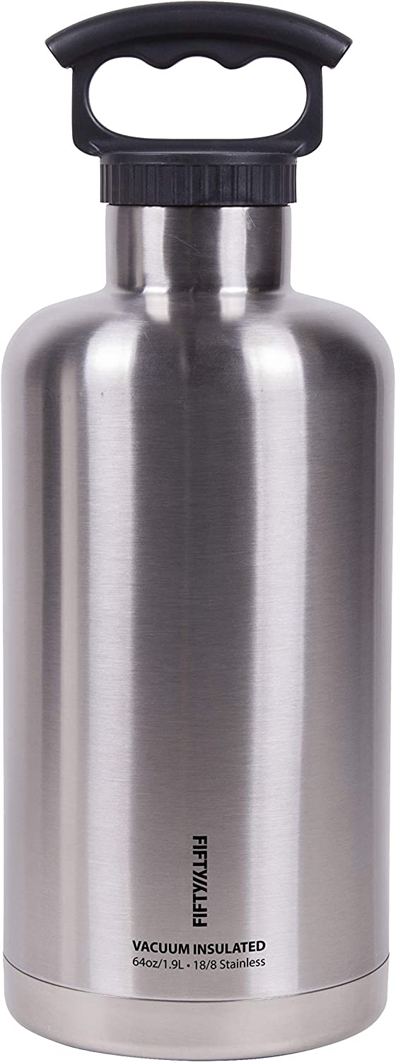 Fifty/Fifty Growler, Double Wall Vacuum Insulated Water Bottle, Stainless Steel, 3 Finger Cap w/ Standard Top, Silver, 64oz/1.9L, 64 ounce