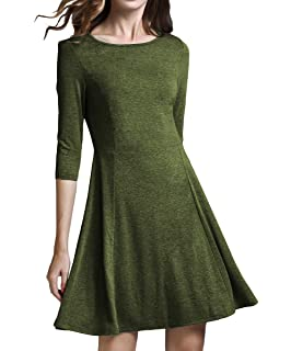 6ef6a384953 TOPPING Women's Casual Jersey Long Sleeve Flare Mini Skater Dress at ...