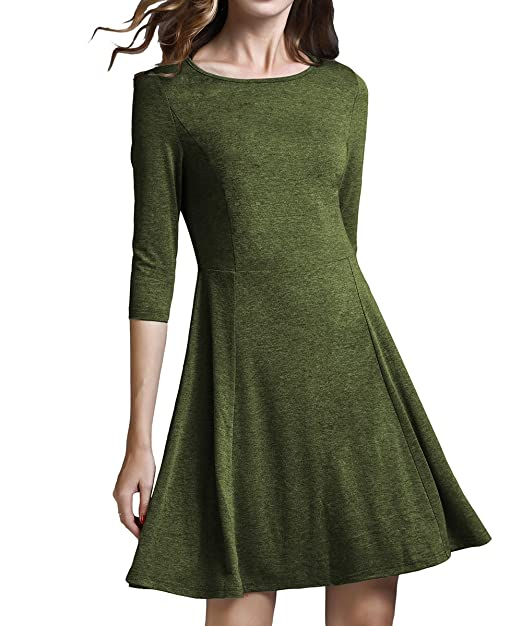 c1f47336a88 YiLiQi Women's 3/4 Sleeve Knit Fit-and-Flare Dress at Amazon Women's ...