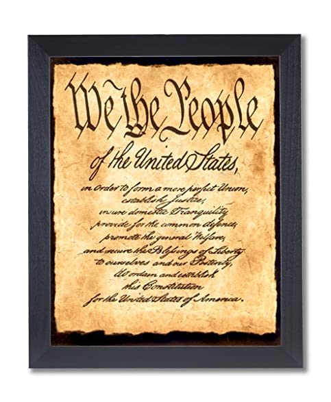Amazon.com: Solid Wood Black Framed We The People Democracy Poem ...