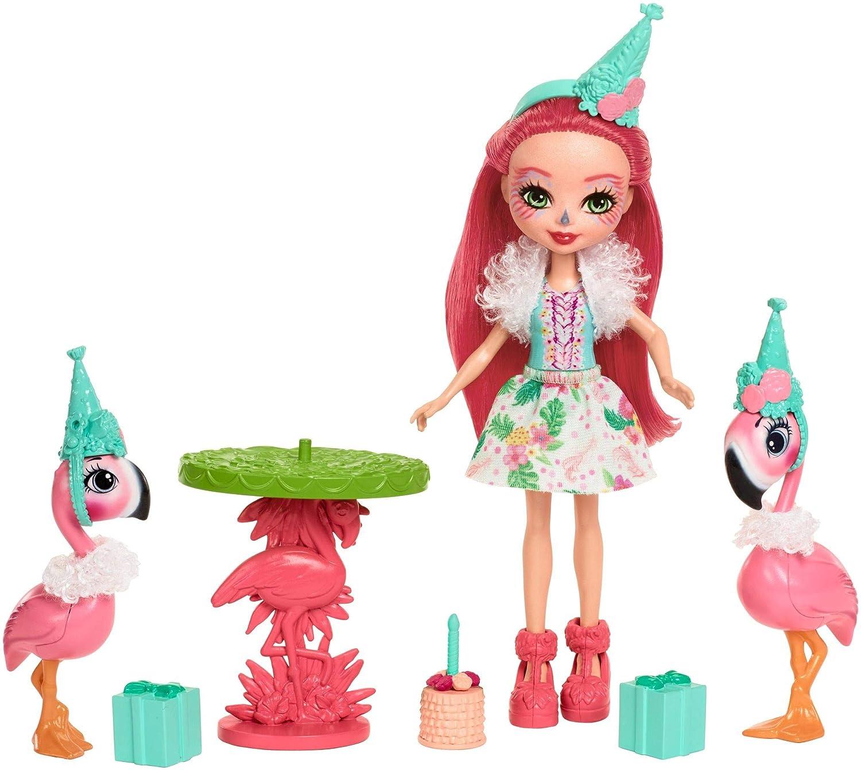 Enchantimals Coffret Anniversaire, Mini-poupée Fanci Flamant et Figurines Animales Swash et Kiba avec table et accessoires, jouet enfant, FCG79 Mattel